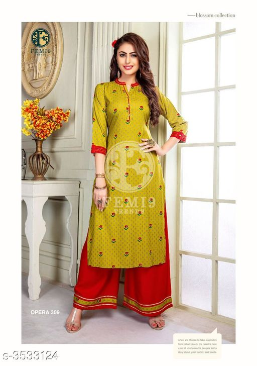 Kurta Sets New Fabulous 14 KG Rayon Women's Kurta Set  *Fabric* Kurti -  14 KG Rayon, Palazzo - 14 KG Rayon  *Sleeves* Sleeves Are Included    *Size* M - 19 in, L - 20 in, XL - 21 in, XXL - 22 , XXXL-24 ,Palazzo -  M - 19 in, L - 20 in, XL - 21 in, XXL -22, XXXL-24  *Length* Kurti - Up To 46 in, Palazzo - Up To 38 in  *Type* Stitched    *Description* It Has 1 Piece Of Women's Kurti & 1 Piece Of Palazzo  *Work* Kurti - Printed,  Palazzo -  Printed  *Sizes Available* M, L, XL, XXL, XXXL   Supplier Rating: ★4 (438) SKU: femi9-trends-opera-vol-3-rayon-exclusive-kurti-with-plazzo-collection-10 Free shipping is available for this item. Pkt. Weight Range: 350  Catalog Name: New Fabulous 14 KG Rayon Women's Kurta Sets Vol 10 - Drape Fab Code: 0211-3533124--