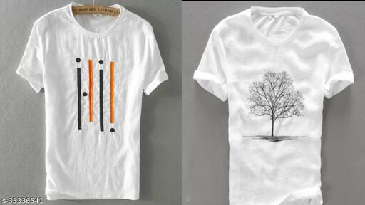 NIKLINE WHITE FOUR LINE WHITE TREE T SHIRT FOR MEN