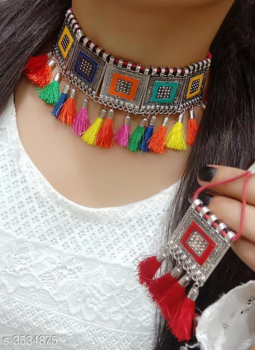 Women's Alloy Oxidised Silver Jewellery Set