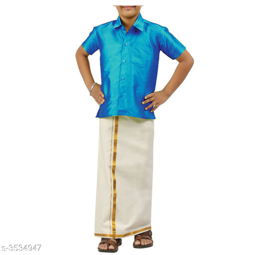 Kurta Sets Adorable Cotton Kid's Boy's Lounge Sets  *Fabric* Shirt  *Sleeves* Half Sleeves Are Included  *Size* Age Group (1 - 2 Years) - 18 in Age Group (2 - 3 Years) - 20 in Age Group (3 - 4 Years) - 22 in Age Group (4 - 5 Years) - 24 in Age Group (5 - 6 Years) - 26 in Age Group (6 - 7 Years) - 28 in Age Group (7 - 8 Years) - 30 in Age Group (8 - 9 Years) - 30 in Age Group (9 - 10 Years) - 32 in  *Type* Stitched  *Description* It Has 1 Piece Of Kid's Shirt & 1 Piece Of Dhoti  *Pattern* Solid  *Sizes Available* 2-3 Years, 3-4 Years, 4-5 Years, 5-6 Years, 6-7 Years, 7-8 Years, 0-3 Months, 8-9 Years, 0-6 Months, 9-10 Years, Free Size, 1-2 Years *   Catalog Rating: ★4 (250)  Catalog Name: Doodle Adorable Cotton Kid's Boy's Ethnic Sets Vol 1 CatalogID_492384 C58-SC1170 Code: 693-3534947-