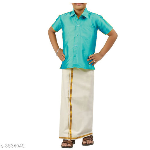 Kurta Sets Adorable Cotton Kid's Boy's Lounge Sets  *Fabric* Shirt  *Sleeves* Half Sleeves Are Included  *Size* Age Group (1 - 2 Years) - 18 in Age Group (2 - 3 Years) - 20 in Age Group (3 - 4 Years) - 22 in Age Group (4 - 5 Years) - 24 in Age Group (5 - 6 Years) - 26 in Age Group (6 - 7 Years) - 28 in Age Group (7 - 8 Years) - 30 in Age Group (8 - 9 Years) - 30 in Age Group (9 - 10 Years) - 32 in  *Type* Stitched  *Description* It Has 1 Piece Of Kid's Shirt & 1 Piece Of Dhoti  *Pattern* Solid  *Sizes Available* 2-3 Years, 3-4 Years, 4-5 Years, 5-6 Years, 6-7 Years, 7-8 Years, 8-9 Years, 9-10 Years, 0-1 Years, Free Size, 1-2 Years *   Catalog Rating: ★4 (250)  Catalog Name: Doodle Adorable Cotton Kid's Boy's Ethnic Sets Vol 1 CatalogID_492384 C58-SC1170 Code: 693-3534949-
