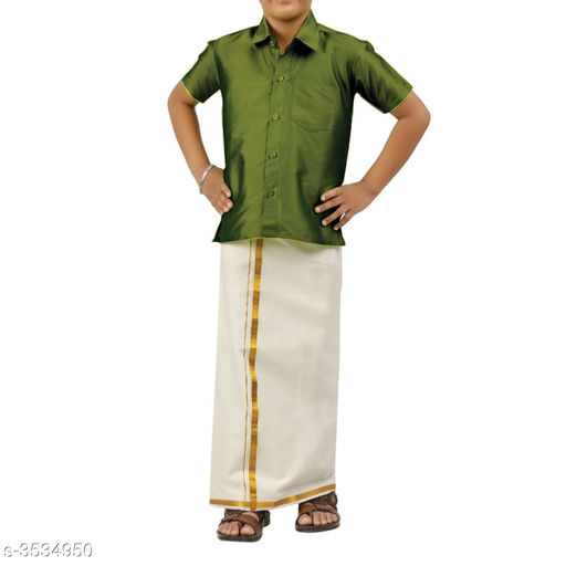 Kurta Sets Adorable Cotton Kid's Boy's Lounge Sets  *Fabric* Shirt  *Sleeves* Half Sleeves Are Included  *Size* Age Group (1 - 2 Years) - 18 in Age Group (2 - 3 Years) - 20 in Age Group (3 - 4 Years) - 22 in Age Group (4 - 5 Years) - 24 in Age Group (5 - 6 Years) - 26 in Age Group (6 - 7 Years) - 28 in Age Group (7 - 8 Years) - 30 in Age Group (8 - 9 Years) - 30 in Age Group (9 - 10 Years) - 32 in  *Type* Stitched  *Description* It Has 1 Piece Of Kid's Shirt & 1 Piece Of Dhoti  *Pattern* Solid  *Sizes Available* 2-3 Years, 3-4 Years, 4-5 Years, 5-6 Years, 6-7 Years, 7-8 Years, 8-9 Years, 9-10 Years, 0-1 Years, Free Size, 1-2 Years *   Catalog Rating: ★4 (250)  Catalog Name: Doodle Adorable Cotton Kid's Boy's Ethnic Sets Vol 1 CatalogID_492384 C58-SC1170 Code: 693-3534950-