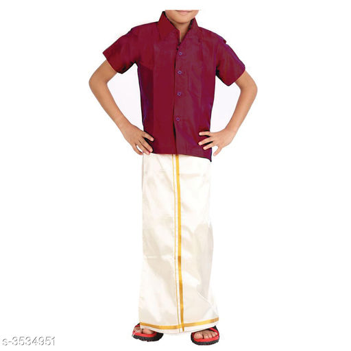 Kurta Sets Adorable Cotton Kid's Boy's Lounge Sets  *Fabric* Shirt  *Sleeves* Half Sleeves Are Included  *Size* Age Group (1 - 2 Years) - 18 in Age Group (2 - 3 Years) - 20 in Age Group (3 - 4 Years) - 22 in Age Group (4 - 5 Years) - 24 in Age Group (5 - 6 Years) - 26 in Age Group (6 - 7 Years) - 28 in Age Group (7 - 8 Years) - 30 in Age Group (8 - 9 Years) - 30 in Age Group (9 - 10 Years) - 32 in  *Type* Stitched  *Description* It Has 1 Piece Of Kid's Shirt & 1 Piece Of Dhoti  *Pattern* Solid  *Sizes Available* 2-3 Years, 3-4 Years, 4-5 Years, 5-6 Years, 6-7 Years, 7-8 Years, 8-9 Years, 9-10 Years, 0-1 Years, Free Size, 1-2 Years *   Catalog Rating: ★4 (250)  Catalog Name: Doodle Adorable Cotton Kid's Boy's Ethnic Sets Vol 1 CatalogID_492384 C58-SC1170 Code: 693-3534951-