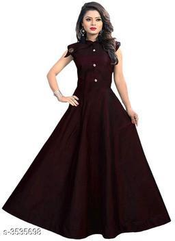 Solid Maroon Maxi Satin Dress