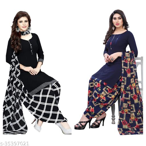 Crepe Fancy Suits Material Of Womens (pack of 2)