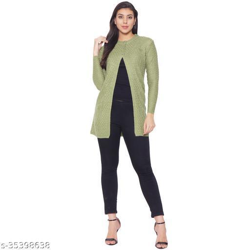 Clapton Women's Acrylic Blend Full Sleeve Winter Wear Long Cardigan/Shrug Green
