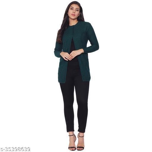 Clapton Women Acrylic Blend Full Sleeve Winter Wear Long Cardigan/Shrug Green