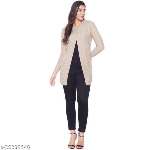 Clapton Women's Acrylic Blend Full Sleeve Winter Wear Long Cardigan/Shrug Beige