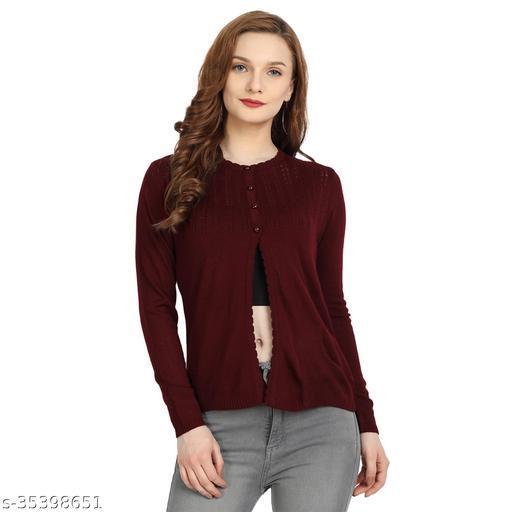 Clapton Women Acrylic Blend Full Sleeve Winter Wear Cardigan Sweater Meroon