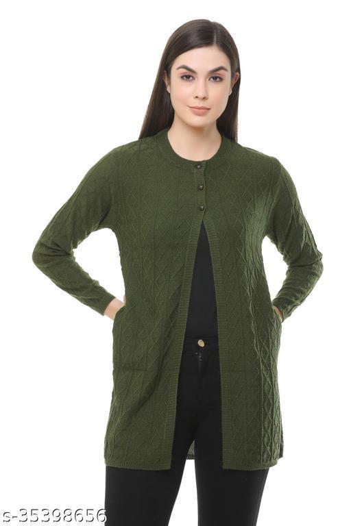Clapton Acrylic Blend Full Sleeve Winter Wear Cardigan For Women Green