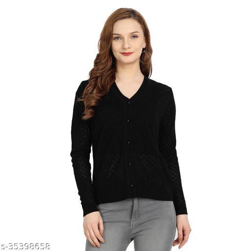 Clapton Women's Acrylic Blend Full Sleeve Winter Wear Cardigan Black