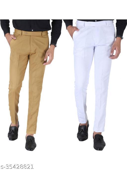 SREY Khaki and White Combo Slim Fit Formal Trouser For Men