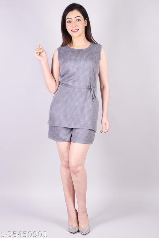BACHUU Rayon Printed Round Neck Straight SleevesSHORT Grey WESTERN DRESS