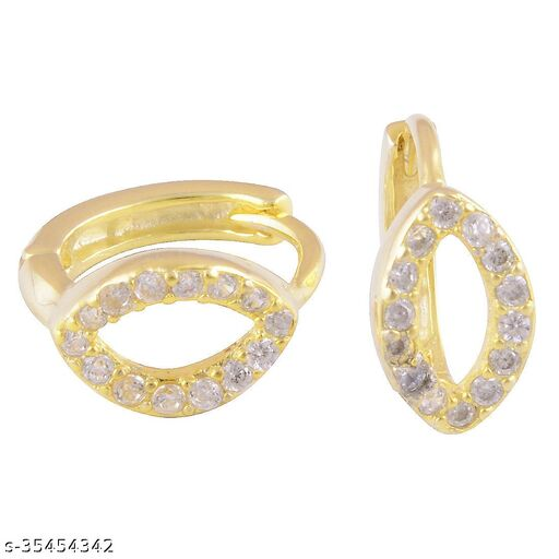 Gold Plated Pure Silver Cubic Zirconia Earrings for women & Girls