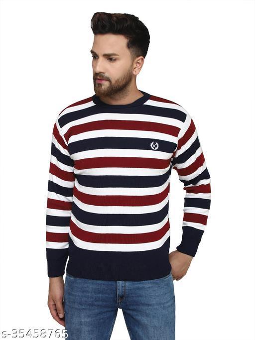Kvetoo Winter Wear Casual Strips Mock Neck Sweaters For Men's