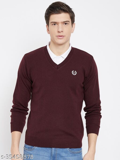 Kvetoo Winter Wear Casual Solid V- Neck Sweaters For Men's
