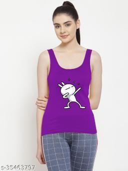 Women Purple Three_star Printed Sleeveless Women camisole