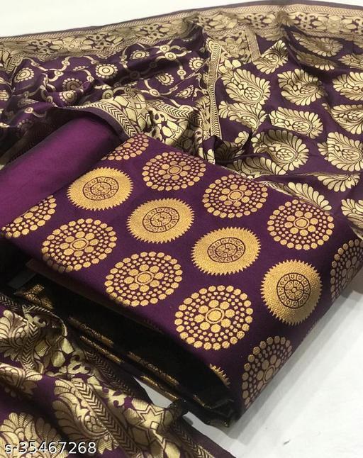 Ayka Purple Jacquard Printed Banarasi Salwar Suits & Dress Materials