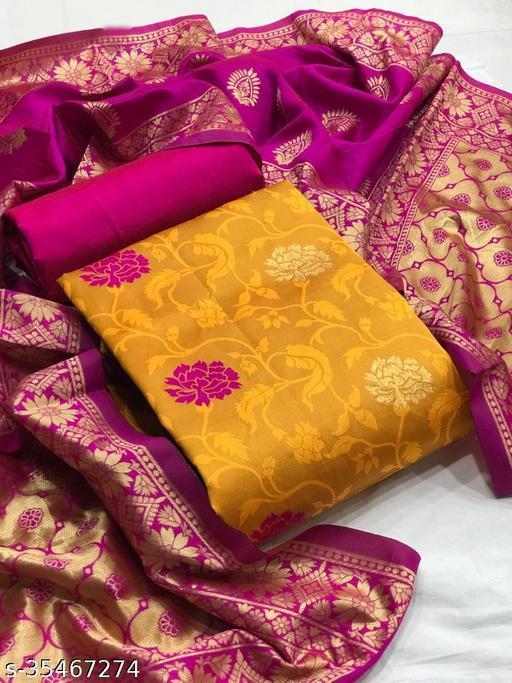 Ayka Lemon Yellow Jacquard Printed Banarasi Salwar Suits & Dress Materials