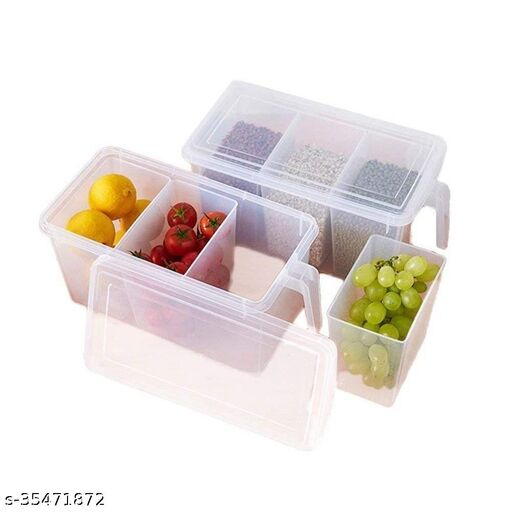 PACK OF 2 Refrigerator Organizer Container Square Handle Refrigerator Food Storage Organizer ABS Plastic Container Boxes with Lid 3 Smaller Bins (Pack of 2)