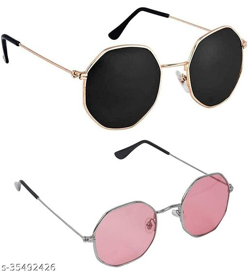 JUST-STYLE Unisex Adult Octagonal Sunglasses (Pack of 2)Pink Black