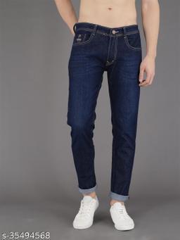 PODGE Men's Denim Slim Fit Blue Jeans (NS-PGMJ-004)