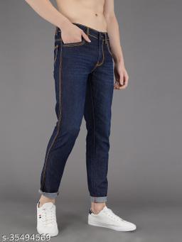 PODGE Men's Denim Slim Fit Blue Jeans (NS-PGMJ-003)