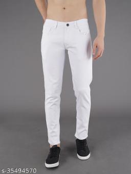 PODGE Men's Polycotton Slim Fit White Jeans (NS-PGMJ-001)
