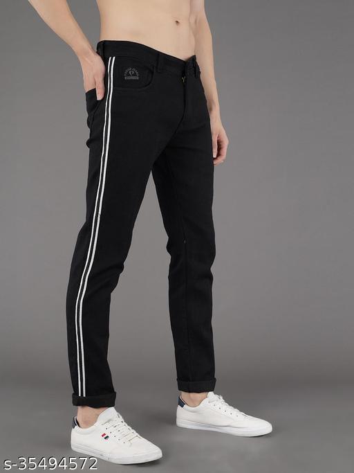 PODGE Men's Polycotton Slim Fit Black Jeans (NS-PGMJ-006)