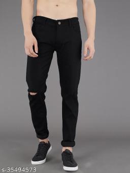 PODGE Men's Polycotton Slim Fit Black Jeans (NS-PGMJ-008)