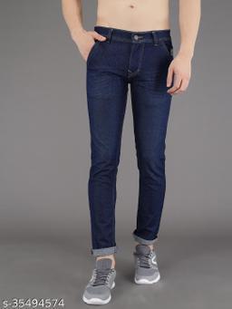PODGE Men's Denim Slim Fit Blue Jeans (NS-PGMJ-005)