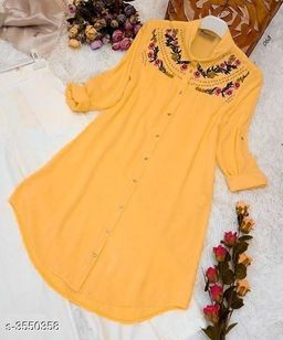 Women's Embroidered Yellow Rayon Top
