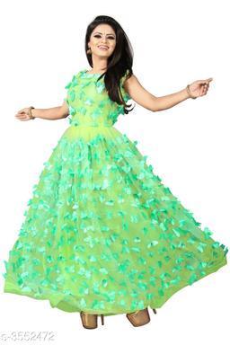 Women's Self-Design Green Net Dress