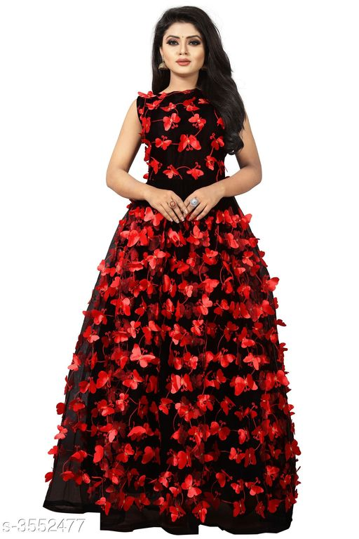 Women's Self-Design Black Net Dress
