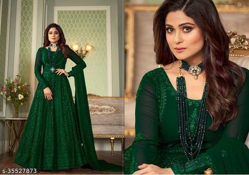 Krishna Tex Green Fox Georgette With Chain Stitch work Anarkali suit