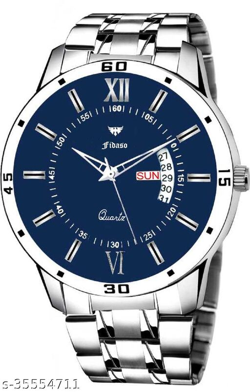 Fidaso F1257 Navy Blue Dial Stainless Steel Analog Watch for Men & Boys