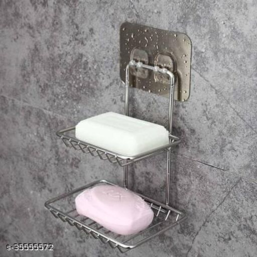 The Flying Kart Pack of 1 Stainless Steel 2 Layer Soap Holder Dishes with Magic Sticker ( No Drilling ) Soap Rack Soap Holder