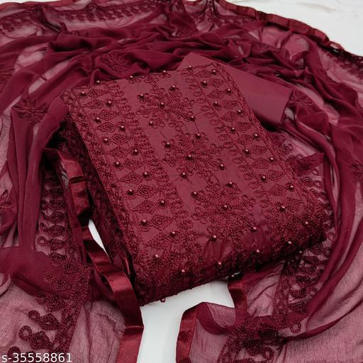 GUNVANTI FAB Brocade Self Design, Solid Kurta & Churidar Material  (Unstitched)