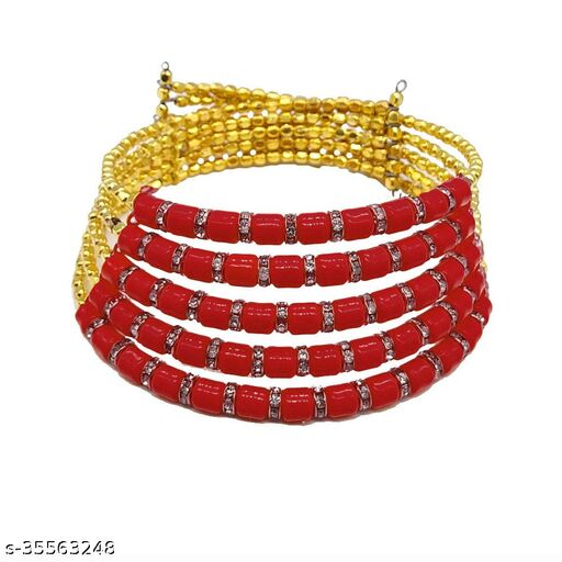 Stylish designer red color bead partywear hasli choker necklace for women and girls.