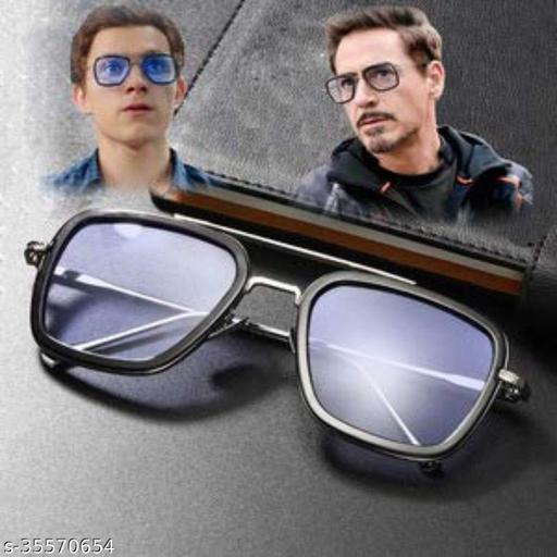 Edith   Iron man   Tony Stark Rectangular Sunglasses (Men, Women),Black blue