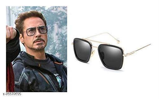 Edith   Iron man   Tony Stark Rectangular Sunglasses (Men, Women),Gold Black