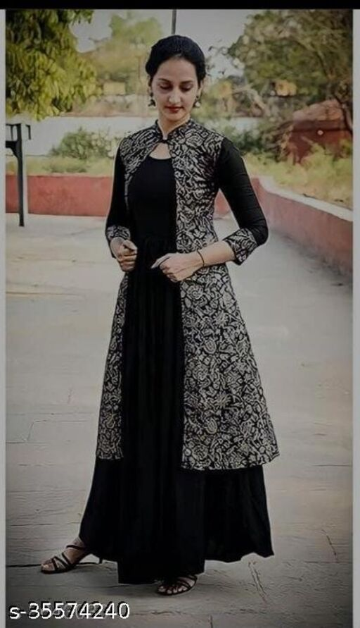 RAYON BEAUTIFUL PRINTED INNER OUTER GOWN