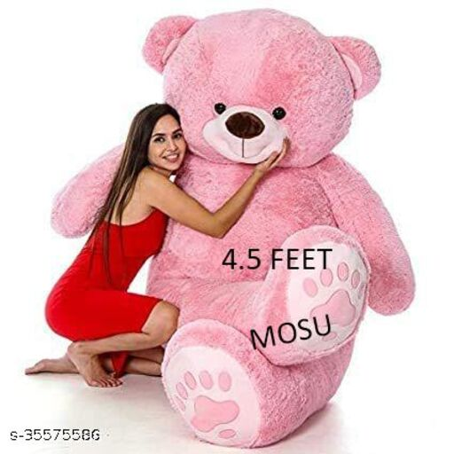 LEGAL LOVE Teddy Bear with Neck Bow Soft Plush Fabric (PINK, 4.5 Feet)