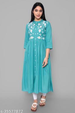womens Rayon embroidery kurta