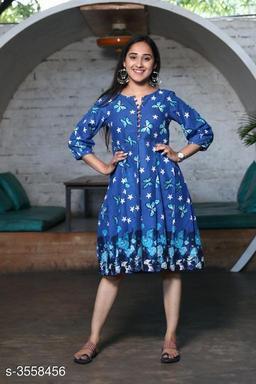 Printed Blue Knee length Cotton Dress