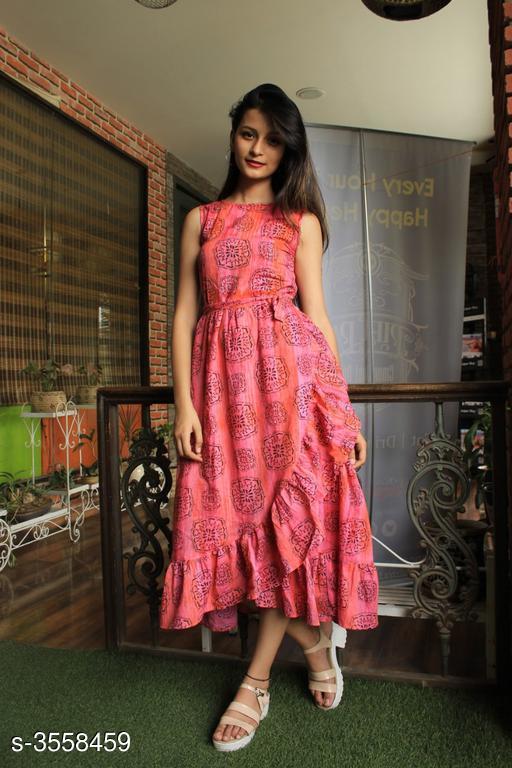 Printed Pink Calf-Length Cotton Dress