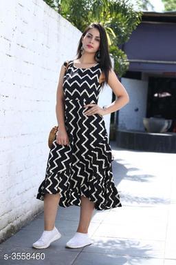 Printed Black Calf-Length Cotton Dress