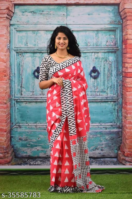 Bagru Hand Block Printed cotton mull mull saree