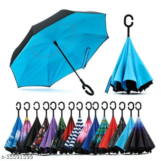 Reverse Inverted Windproof Upside Down Umbrellas with C-Shaped Handle for Women and Men - Double Layer Inside Out Folding Umbrella((Multi Color-1 pcs)