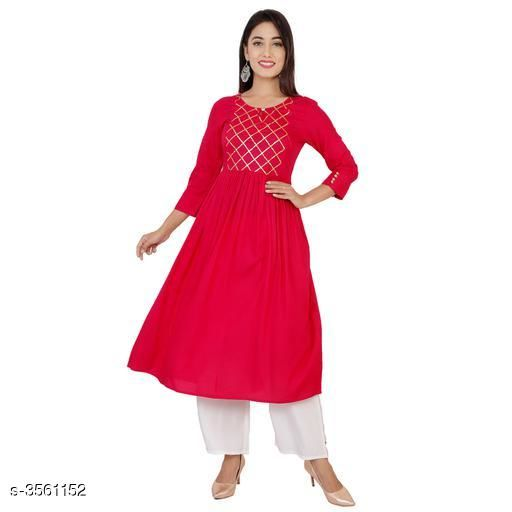 Kurta Sets Stylish Heavy 14 Kg Rayon Kurta Set  *Fabric* Kurti - Heavy 14 Kg Rayon, Cotton  Palazzo - Heavy 14 Kg Rayon, Cotton  *Sleeves* Sleeves Are Included  *Size* Kurti - S- 36, M- 38, L- 40, XL- 42, XXL- 44, Palazzo- S- 28, M- 30, L- 32, XL- 34, XXL- 36    *Length* Kurti - 46 inch, Palazzo- 40 inch  *Type* Stitched  *Description* It Has 1 Piece Of Kurti With 1 Piece Of Palazzo  *Work/Solid* Kurti - Gota Work/ Printed, Palazzo - Solid/ Printed  *Sizes Available* S, M, L, XL, XXL   Supplier Rating: ★4.1 (1099) SKU: SOLIDPINKSUIT002 Free shipping is available for this item. Pkt. Weight Range: 500  Catalog Name: Ariya Stylish Heavy 14 Kg Rayon Kurta Sets Vol 12 - Star Collections Code: 907-3561152--